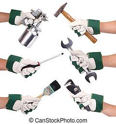 isoleret, hænder, hos, handsker, og, redskaberne, collage, på hvide, baggrund