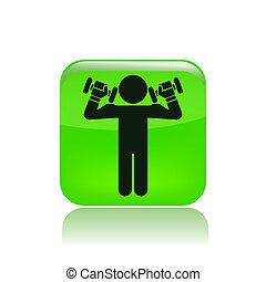 isoleret, illustration, singel, vektor, weightlifting, ikon