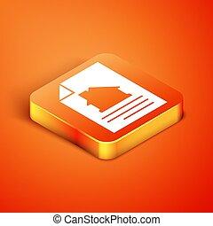 isoleret, isometric, hus, appelsin, oprettelse, baggrund., dokument, ansøgning, composition., vektor, ikon, form, tjeneste, kontrakt, dannelse
