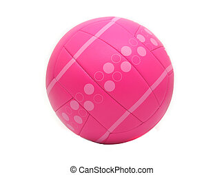 isoleret, lyserød, volleyball