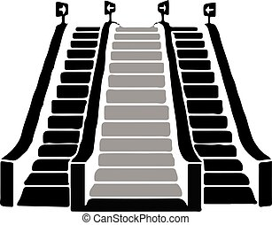 isoleret, rulletrappe, baggrund, ikon