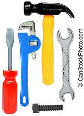 isoleret, stykke legetøj, redskaberne