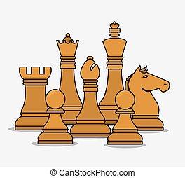 isoleret, stykker, konstruktion, chess, menneskelige ressourcer