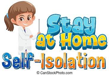 isolering, hjem, selv, ophold
