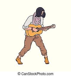 isoleted., 音楽家, 通り, ギターの 演奏, 人, スケッチ, イラスト, 漫画, ベクトル
