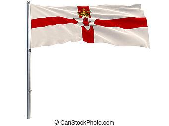isolieren, fahne, von, nordirland, auf, a, fahnenstange, flattern, wind