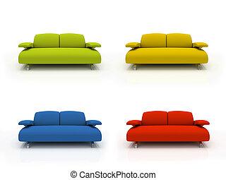 isoliert, bunte, modern, sofas, hintergrund, weißes, 3d