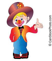 isoliert, fröhlich, clown