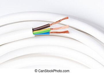 isoliert, kabel, drei, elektrisch, horizontal, schaffner