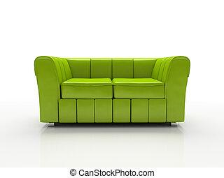 isoliert, sofa, grüner hintergrund, weißes, 3d