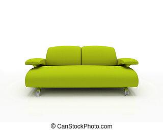 isoliert, sofa, modern, grüner hintergrund, weißes, 3d