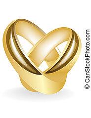 isoliert, weißer ring, gold, wedding