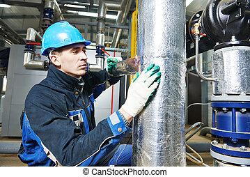 isolierung, industrieller arbeiter, arbeit