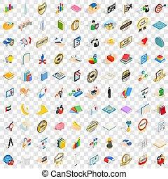 isométrico, éxito, iconos, conjunto, estilo, 100, 3d