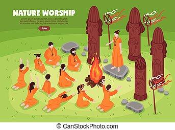 isométrico, adoración, plano de fondo, naturaleza