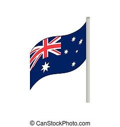 isométrico, australia, estilo, bandera, icono, 3d