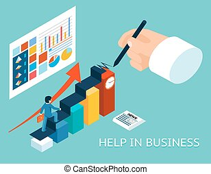 isométrico, ayuda, ilustración negocio, vector, mentor, partner., 3d