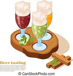 isométrico, bar, plano de fondo, cerveza
