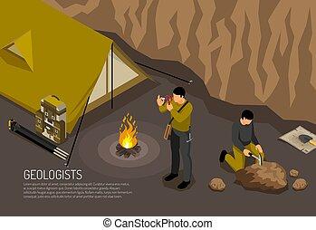isométrico, campo, geólogo, ilustración