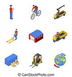 isométrico, carga, iconos, conjunto, estilo, correo