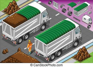 isométrico, cargamaento, contenedor, camión