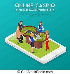 isométrico, casino, composición, en línea