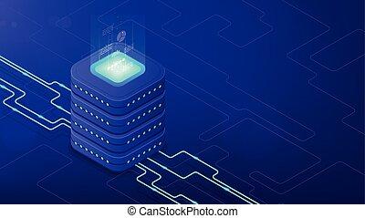 isométrico, centro de datos, arquitectura, concept.
