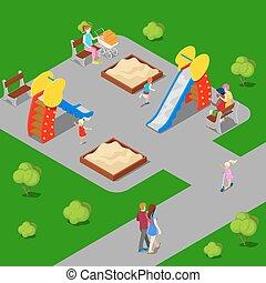 isométrico, city., parque de la ciudad, con, niños, playground., vector, ilustración