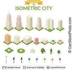 isométrico, ciudad, icono, set.