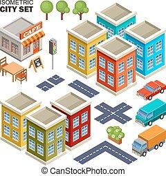 isométrico, ciudad, set.