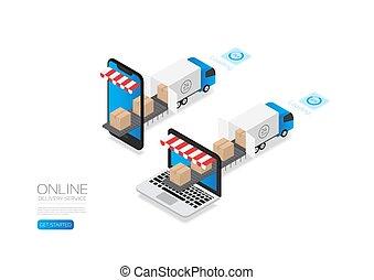 isométrico, comercio electrónico