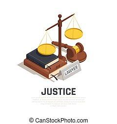 isométrico, composición, justicia, ley
