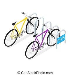 isométrico, concepto, bicicleta, ilustración, vector, estacionamiento