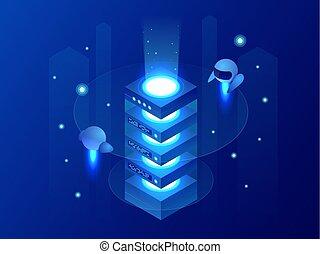 isométrico, concepto, de, grande, proceso dativo, energía, estación, de, futuro, servidor habitación, estante, datos, center., finanzas, cryptocurrency, o, iot, tecnología, vector, ilustración