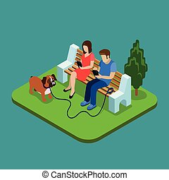 isométrico, concepto, gente, medios, pareja, parque, joven, social, smartphones., addiction., 3d