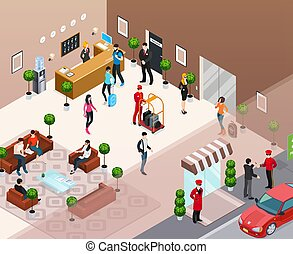 isométrico, concepto, hotel, interior