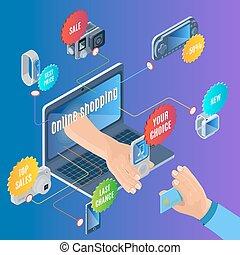 isométrico, concepto, ir de compras en línea directa