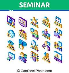 isométrico, conferencia, iconos, seminario, conjunto, vector