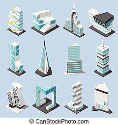 isométrico, conjunto, arquitectura, futurista