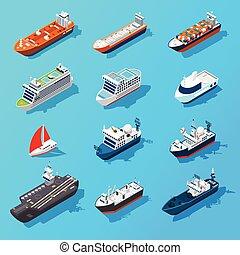 isométrico, conjunto, barcos, naves, barcos, icono