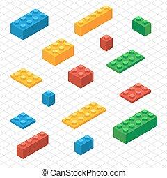 isométrico, conjunto, bloques, lego, sí mismo, su, vista