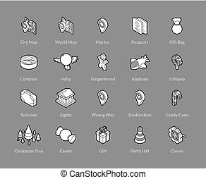 isométrico, conjunto, contorno, iconos