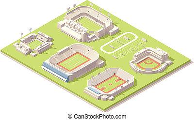 isométrico, conjunto, edificios, estadio