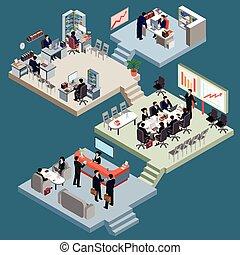 isométrico, conjunto, empresarios, oficina., trajes