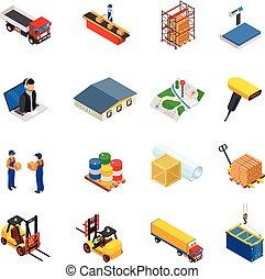 isométrico, conjunto, entrega, vector, logístico, 3d,...