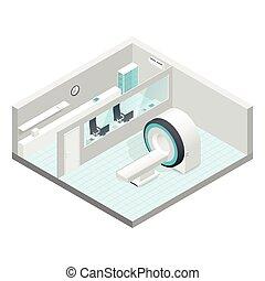 isométrico, conjunto, habitación, gabinete, mri