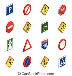 isométrico, conjunto, iconos, señales de tráfico, camino