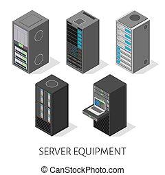 isométrico, conjunto, servidor, equipo, aislado, plano de fondo