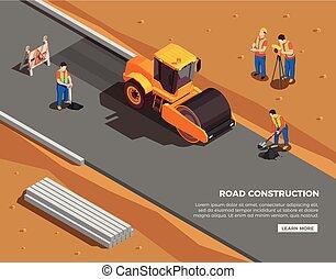 isométrico, construcción, composición, camino