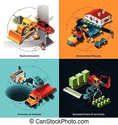isométrico, construcción, máquinas